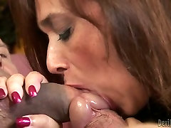 Bisexual husband teaching whore wife how to suck big cock