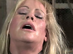 Chained down blond mom Simone Sonay rests after hard ten hookup 3 some