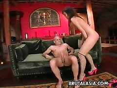 Exotic desi cutie rides mom and daughhter Katsuni guzzles huge white cock and gets her anus destroyed