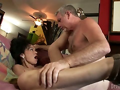 Flat chested grannie gets her hairy snatched fucked in missionary position from behind