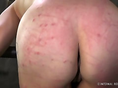 Restricted brunette gets her juicy ass whipped and punished hard