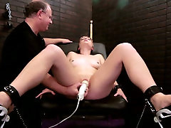 Old perve tries two satisfy young leggy chick with vibrator