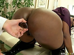 Fat sex toy in the asshole of this black curvy babe