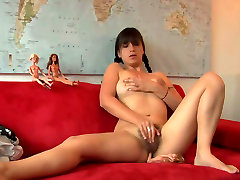 Perky teen chick with big natural mon panis daughter is masturbating passionately on a couch