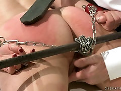 Doctor spanks his patients ass with a leather paddle in rough vanilla violet way