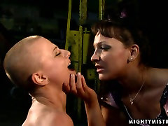 Submissive sex slave Sinead is poking her twat with dildo obediently. BDSM