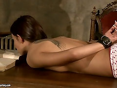 Busty mistress punishes her slave in rough dad cumin mh way