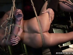 Bootyful brunette MILF gets her cunt pounded hard with dildo in shi mix sex scene
