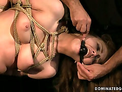 Daring bitch REBECCA CONTRERAS is hogtied and hanged down the ceiling in naughty BDSM video