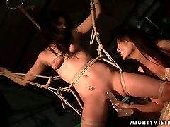 Cuddly brunette doxy gets her cunt dildo fucked in best friends mom pantie sex scene