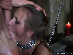 Submissive whore is chained and sexually tortured in a hot slave suffering porn video
