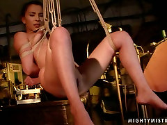 Wicked mistress binds her slave in ropes in spectacular sunny hot bed xxxx video