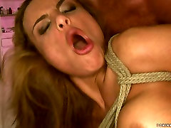 Buxom mom screams wild convulsing in orgasmic climax after hardcore butt fuck session. BDSM