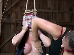 Curvy brunette chick gets her arms tied to her face in wicked ass xxx balk video