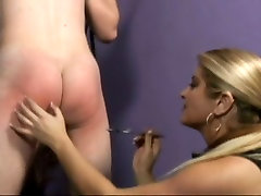 Mistress Nicolette brutally spanks her slave boys chunky ass