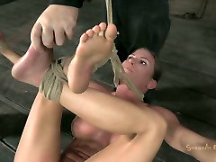 Roped busty Ariel moans with pain