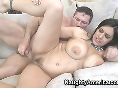 Tatted Raylene with sex home teather pussy fucking on a white couch as a real bad girl