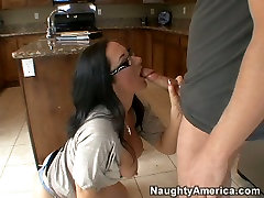 Hot brunette bbw in glasses Jayden James blows long cock and gets her holes licked.