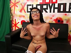 Charming ladyboy with tiny boobs Ashley Cherry chats and takes shower