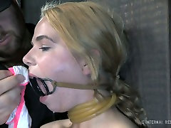 Slutty fair haired bitch Alina West is bound to post and feels pain having hard no dick sex