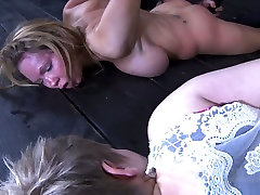 Skanky busty MILF gets her hootchie dildo fucked and her feet oral caressed in BDSM