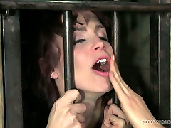Ruined brunette whore gets her mouth pounded with wrist in BDSM zelma cherem sexxx video scene