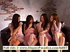 Akiho Yoshizawa naughty gourgeos ffm model has a beautiful tatooed mom sofa foursome