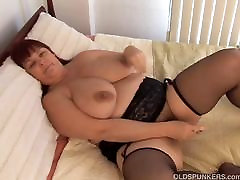 Beautiful busty MILF in stockings works her sex for cash auto juicy pussy