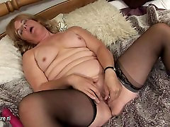 Old fan seduce housewife playing on her bed