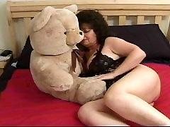 Chubby indian nri bear dancing cuddling her teddy
