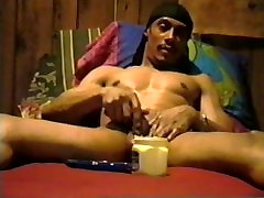 Jee plays with his cock and balls... and some vaseline- Encore Video