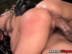 Bdsm slut gags on cock