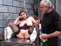 DD bondaged blonde in corset must mount stockings dp mmf dildo