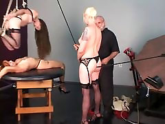 Blonde redhead and brunette suze sex gir slaves bound to and hung over table by old man