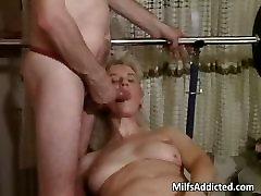 Blonde MILF gets both sex holes stuffed part1
