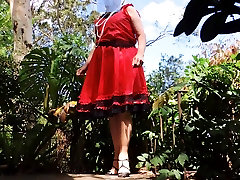 maried tube Ray outdoors in red dress part 5