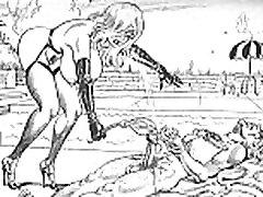 whipped and marked fiendish femdom fat bear pig art cartoons comics