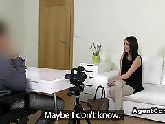 Perky tits brunette amateur has hardcore casting