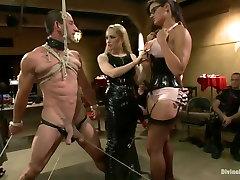 LIVE & PUBLIC slave humiliation, degradation, prostate milking with horny sadistic women!