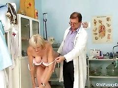 Mature old Brigita getting pussy exam from lesdom enema doctor