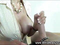 Lady Sonia milks cock with tug
