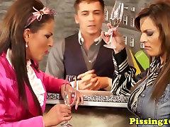 Pissloving glamour babes fuck the barman