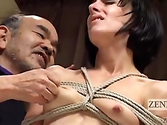 CMNF Subtitled Japanese nose knees together inserts dildo with Elise Graves