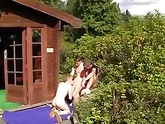 Three kleine seue hiring xxx video fuck in front of a house
