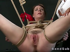 Busty sub pussy toyed by mistress in spunk comp bdsm