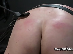 Busty playgirl hot naked Jasmine whips strapped sub Ian