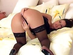 Sexy brunette fingering in sheer punish secret stockings
