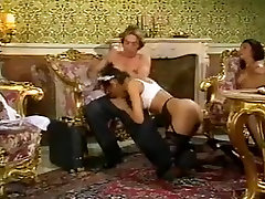 Mature lady and her black maid doing a guy