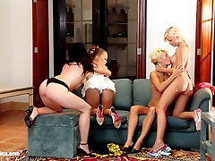 Hailee Lila Mya and Mischelle have a steamy lesbian foursome on Sapphic Erotica