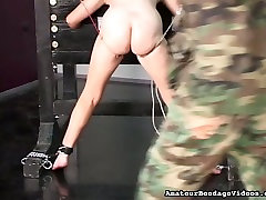 Chubby amateur slut getting her pussy lips pinned tight in adrianna pigtail anal clip